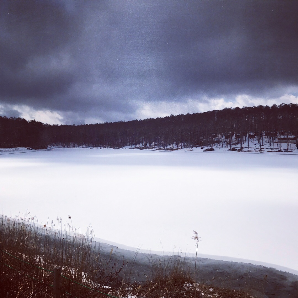 凍る大座法師池写真