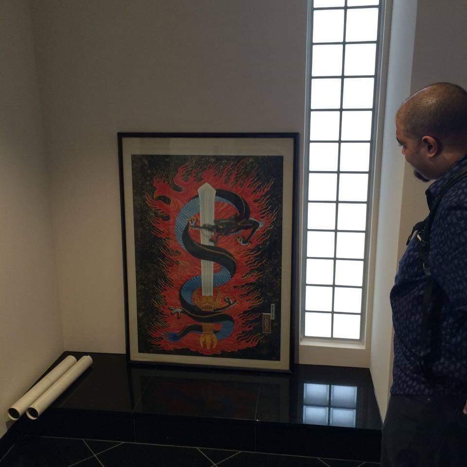 倶利伽羅龍の絵と弟子の彫鈴