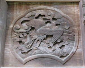 東條健代神社本殿北面胴羽目 波に鶴