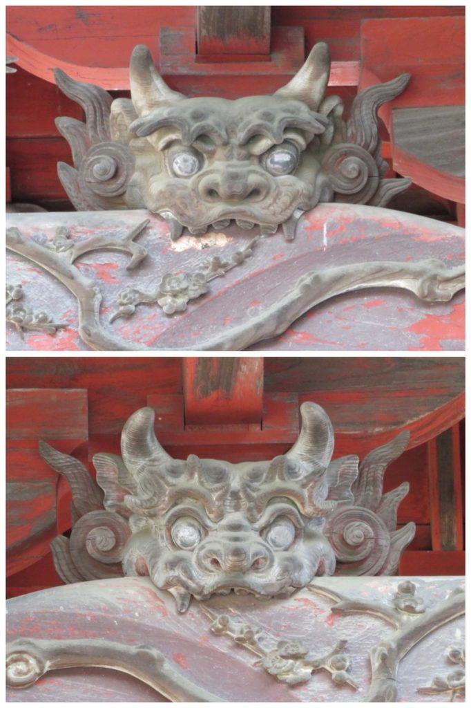 東石清水八幡神社向拝獅噛