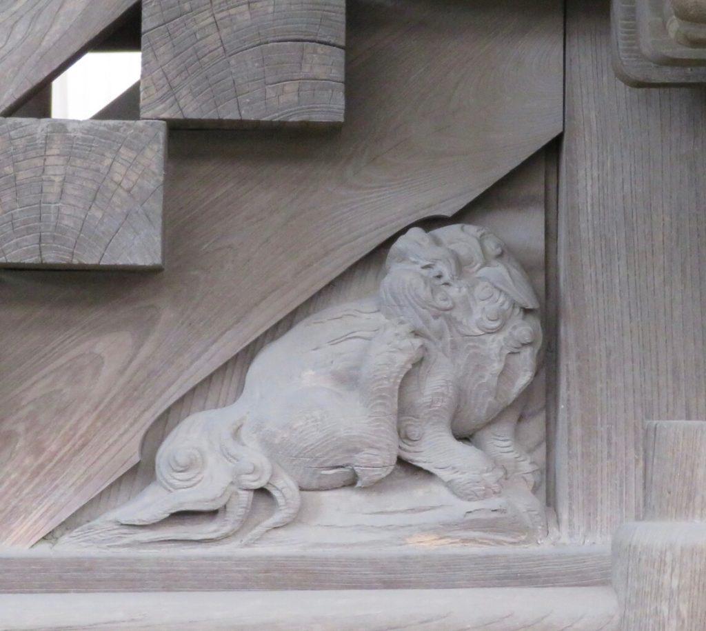 木階脇羽目 獅子