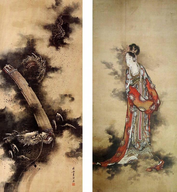 玉巵弾琴図 葛飾北斎画