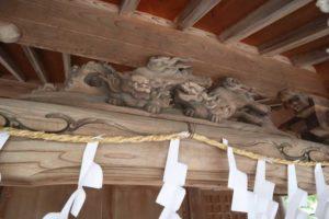 八雲神社拝殿水引虹梁上 唐獅子