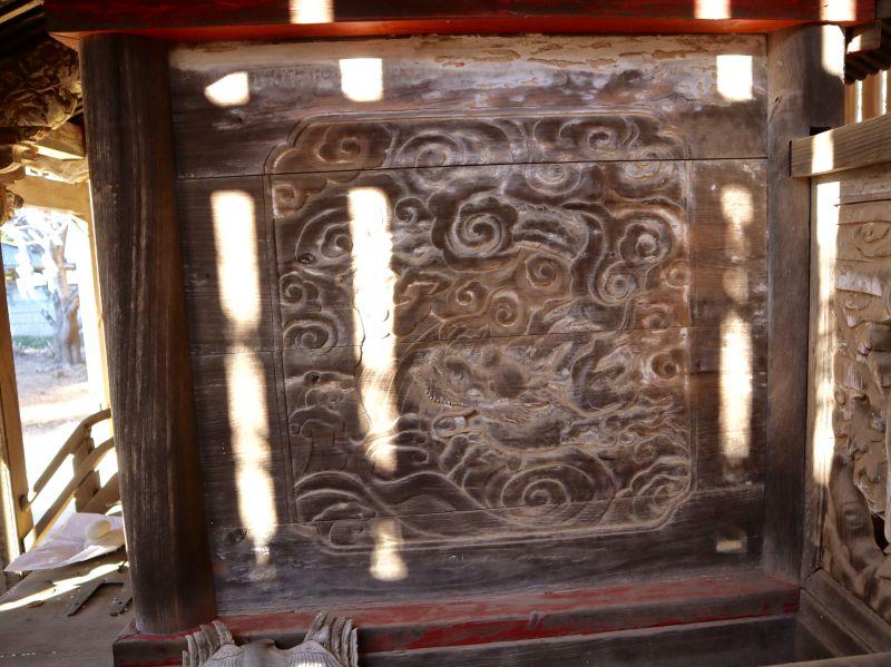 鹿島神社本殿右面胴羽目 龍